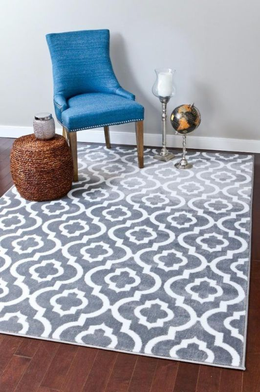 3028 Gray Moroccan Trellis Area Rug Carpet Large