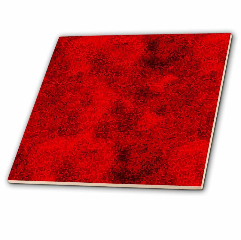 3dRose ct_66006_4 Digital Squares-Black and Red Ceramic Floor Tiles