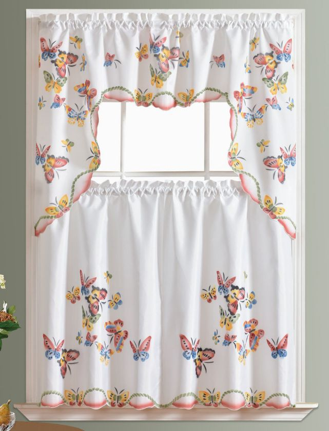 3pcs-Kitchen-Curtain-Cafe-Curtain-Set-Air-brushed-By-Hand-of-Flying-Butterfly-Design