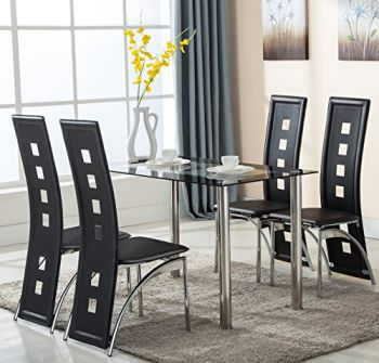 5-Piece-Glass-Dining-Table-Set-4-Leather-Chairs-Kitchen-Furniture