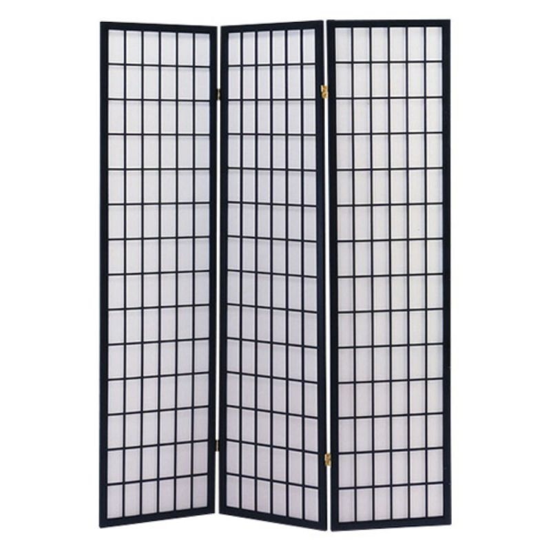 ACME-02284-71-Inch-High-Black-Wood-Folding-Room-Screens