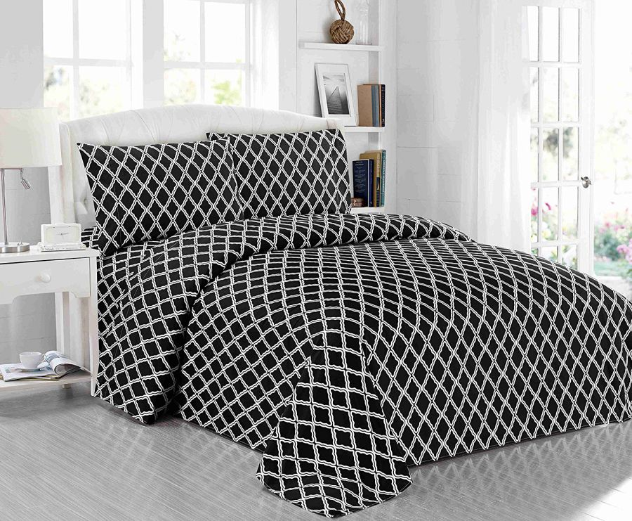 All-American-Collection-New-Microfiber-3-Piece-Sheet-Set-Geometric-Cone-Design-Printing