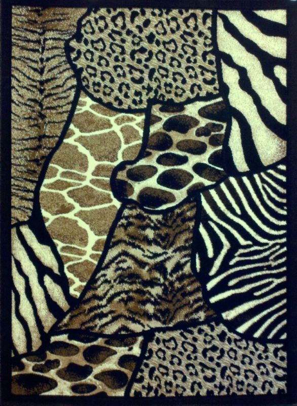 Animal Skin Print Area Rug Leopard Tiger Black Skinz