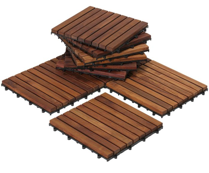 Bare Decor EZ-Floor Interlocking Flooring Tiles in Solid Teak Wood Oiled Finish