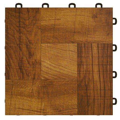 Basement Interlocking Laminate Tiles - Red Wood