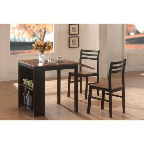 Coaster-Home-Furnishings-130015-Casual-Dining-Room-3-Piece-Set-Walnut-and-Black