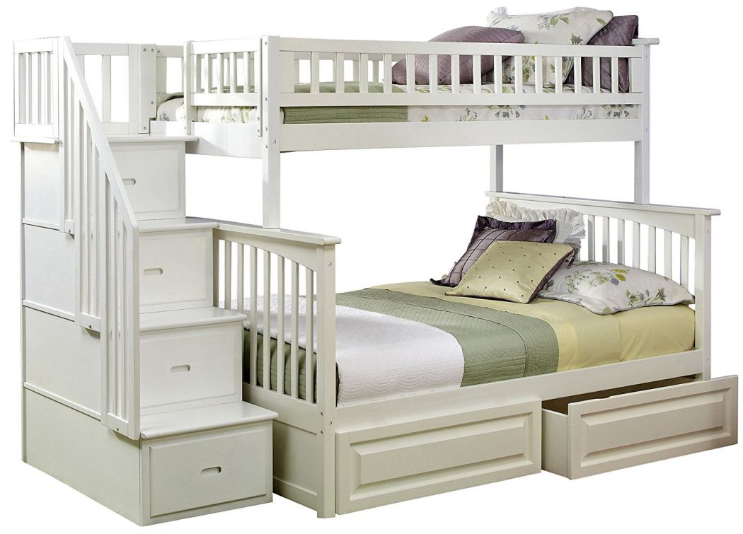 Columbia-Staircase-Bunk-Bed-with-2-Raised-Panel-Bed-Drawers-Twin-Over-Full-White