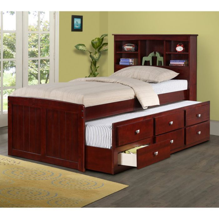 DONCO-Kids-250-TCP-Bookcase-Captains-Bed-Twin-Dark-Cappuccino