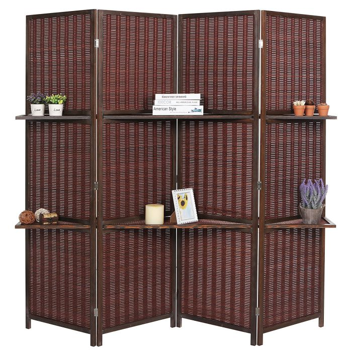 Deluxe Woven Brown Bamboo 4 Panel Folding Room Divider Screen with Removable Storage Shelves