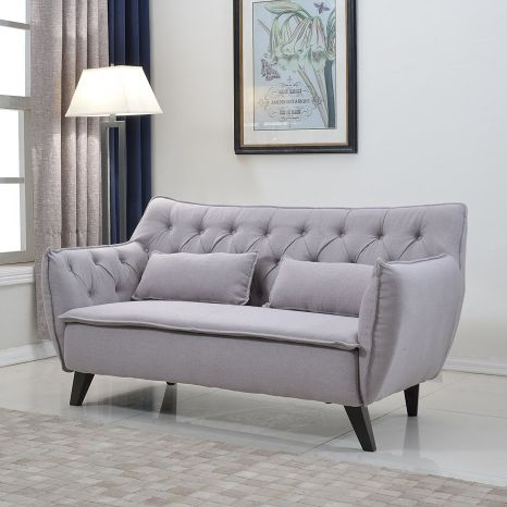 Divano Roma Furniture Light Grey Mid Century Linen Fabric Loveseat