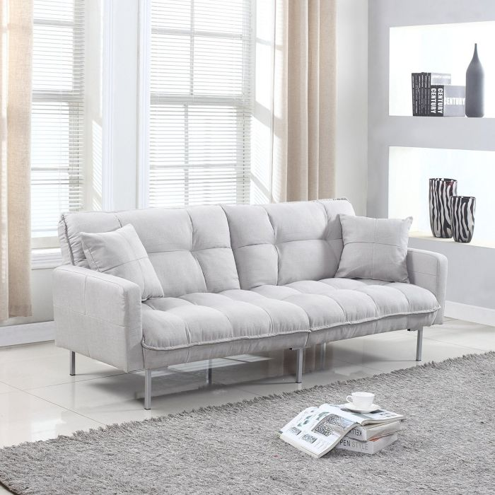 Divano Roma Furniture Modern Plush Tufted Linen Fabric Splitback Living Room Sleeper Futon