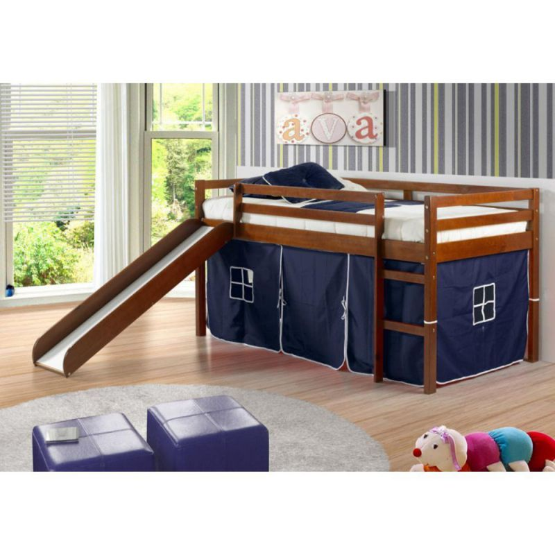 Donco Kids Twin Loft Tent Bed with Slide