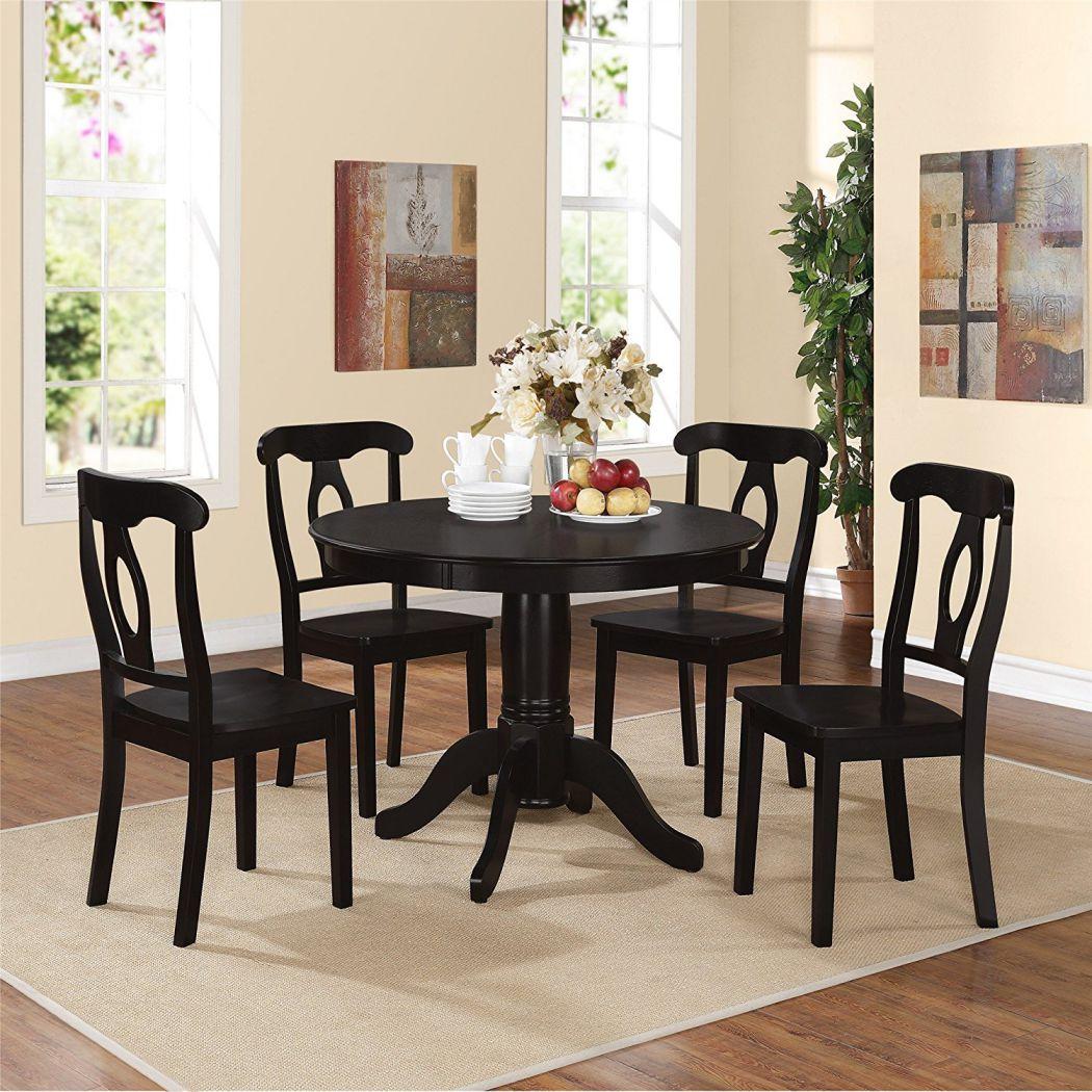 Dorel-Living-5-Piece-Aubrey-Traditional-Pedestal-Height-Dining-Set-Black