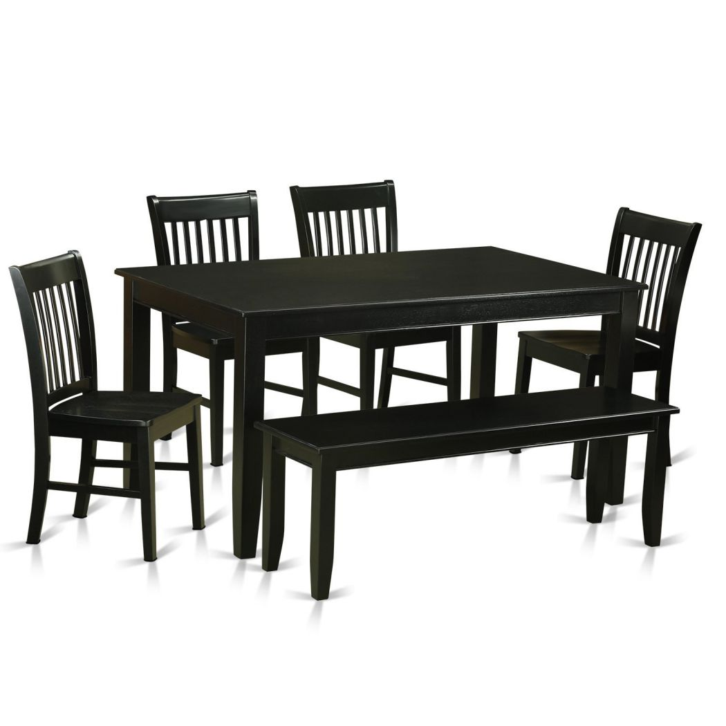 East-West-Furniture-DUNO6-BLK-W-6-Piece-Dining-Table-and-4-Chairs-with-Bench-Set