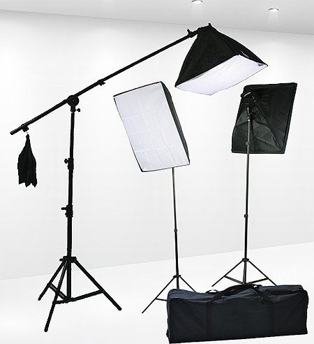 Fancierstudio 2400 Watt Professional 3 Point Lighting Kit With Three Softbox Lights