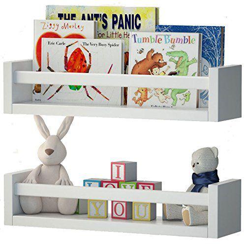 Fasthomegoods Set of 2 Nursery Room Wall Shelf White Wood