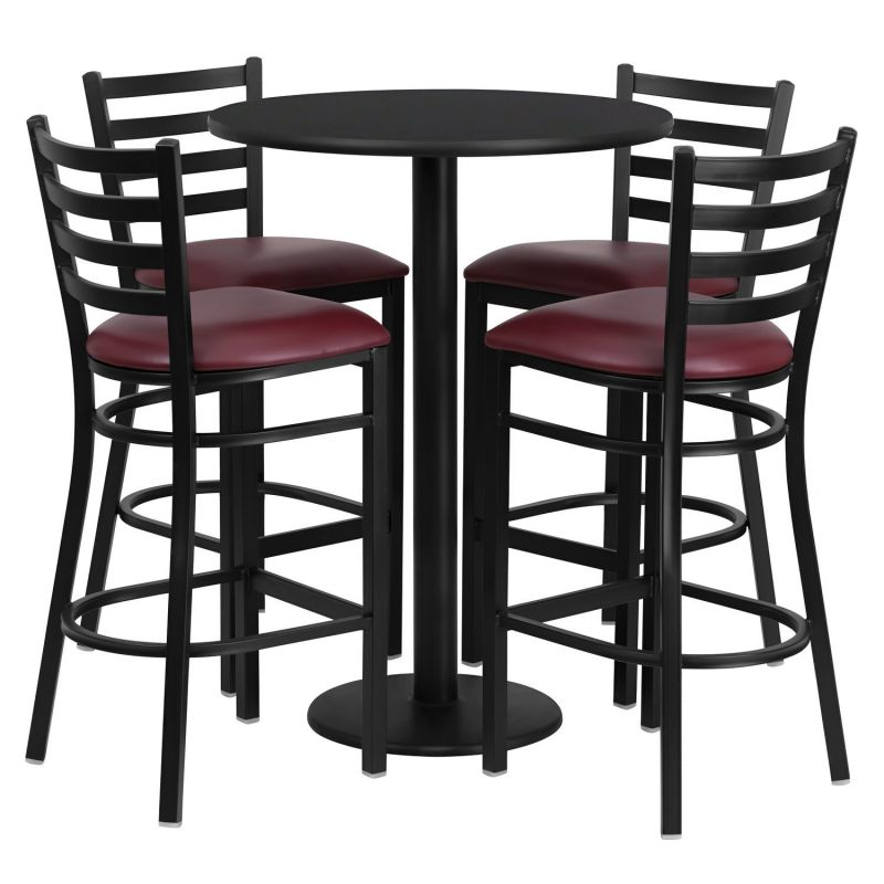 Flash Furniture Round Black Laminate Table Set with 4 Ladder Back Metal Bar Stools