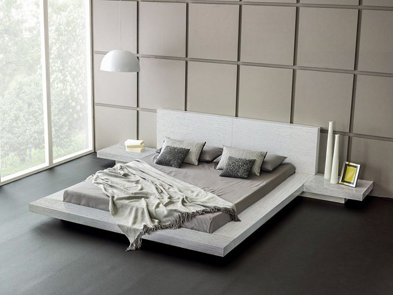 Fujian Modern Bed + 2 Night Stands King Ash White