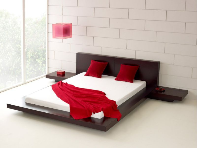 Fujian Modern Platform Bed + 2 Night Stands King