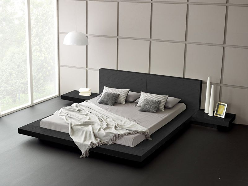Fujian Modern Platform Bed + 2 Night Stands Queen