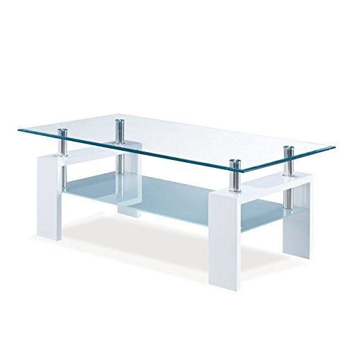 Global Furniture Clear Frosted Occasional Coffee Table with Glossy White Legs