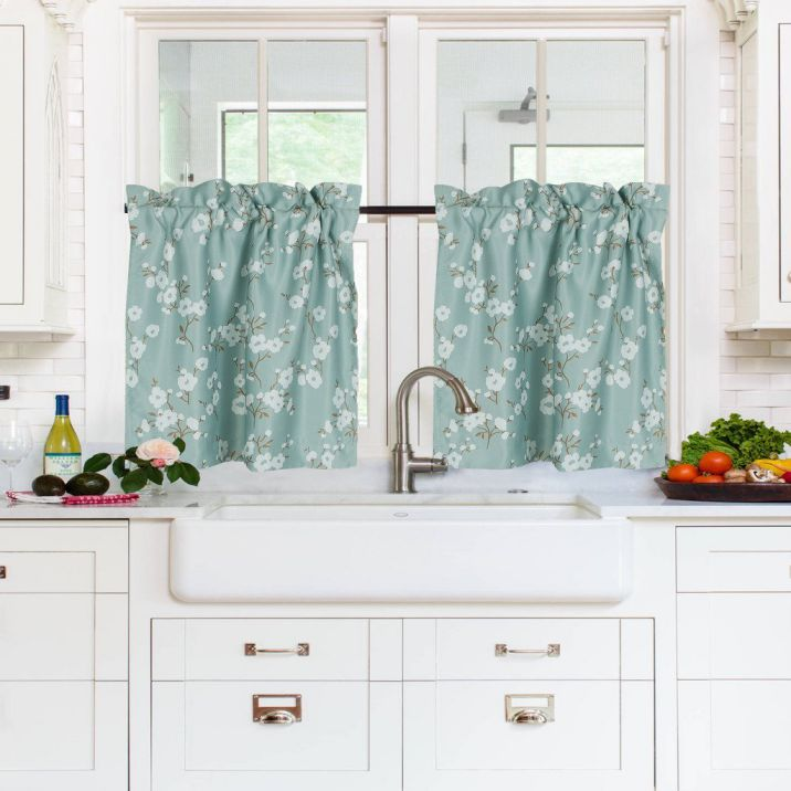 H.Versailtex-Energy-Saving-Ultra-Soft-Casual-Kitchen-CurtainsRod-Pocket-Window-Curtain-Tiers-for-CaféBathLaundryBedroom-Aqua-Floral-Pattern