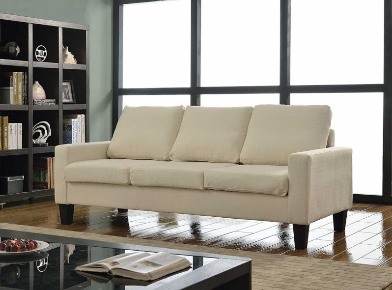 Home Life 3 Person Contemporary Upholstered Linen Sofa