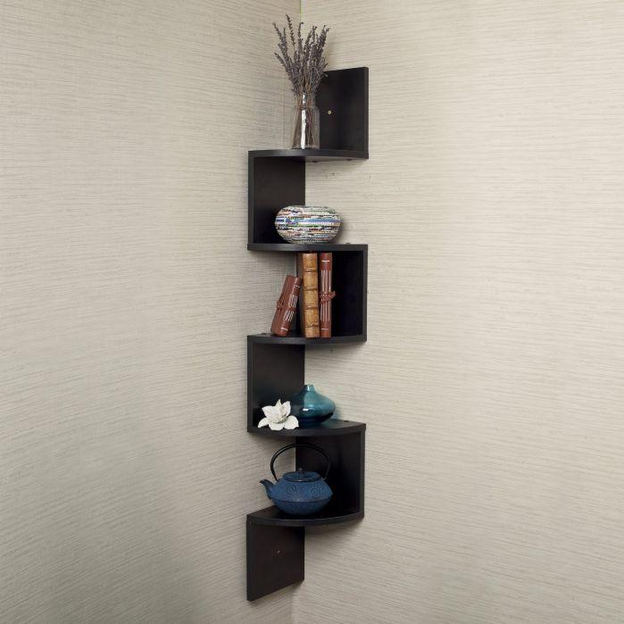 Houseables Corner Wall Book Shelf, 5 Tier