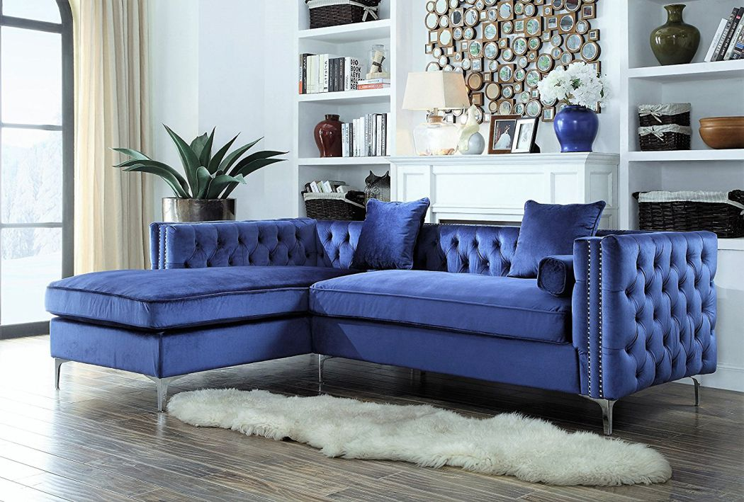 Iconic-Home-Da-Vinci-Tufted-Silver-Trim-Navy-Blue-Velvet-Left-Facing-Sectional-Sofa-with-Silver-Tone-Metal-Y-Legs