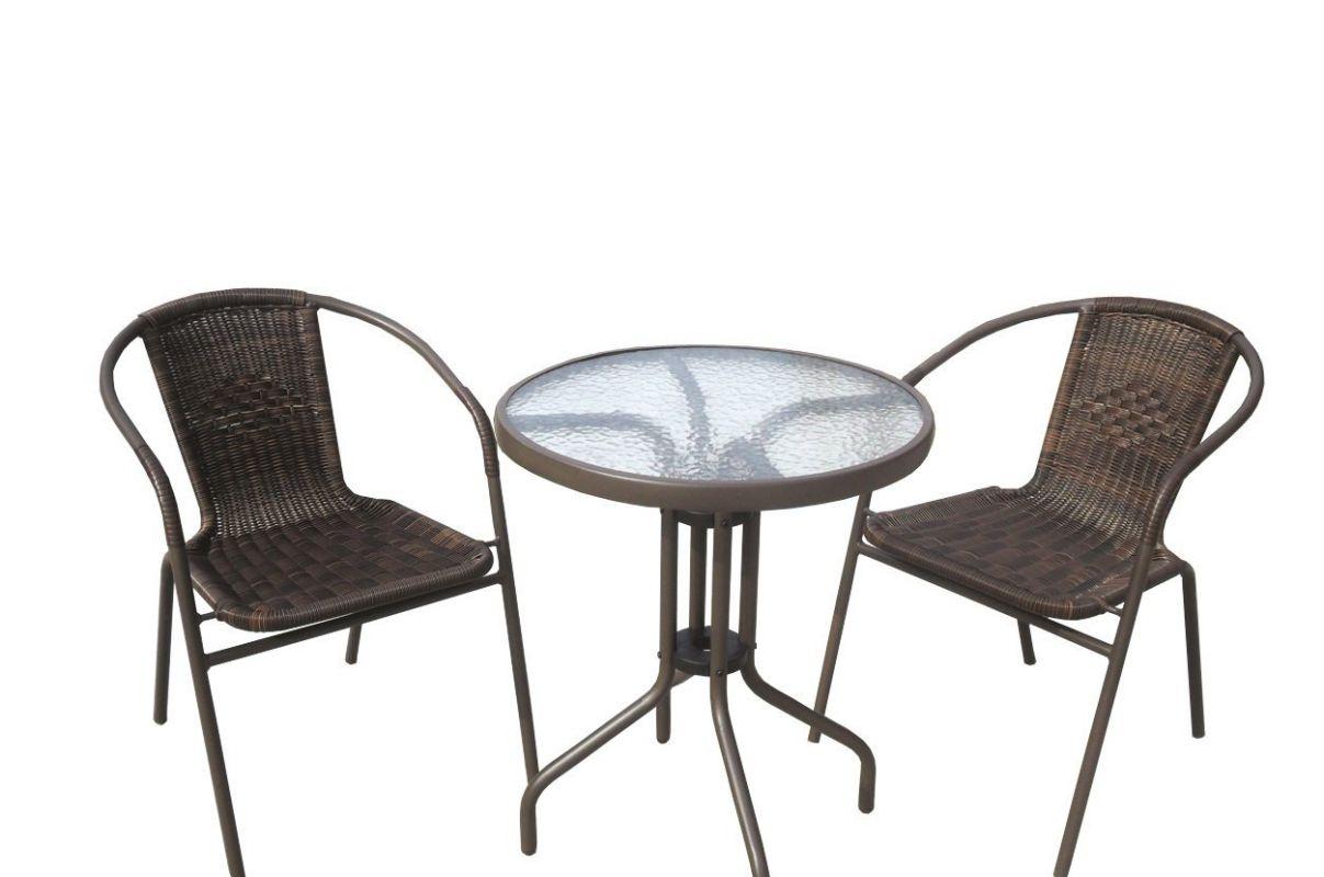 JOYPANDA Outdoor Patio 3 Piece Bistro Furniture Set with Round Balcony Pub Table