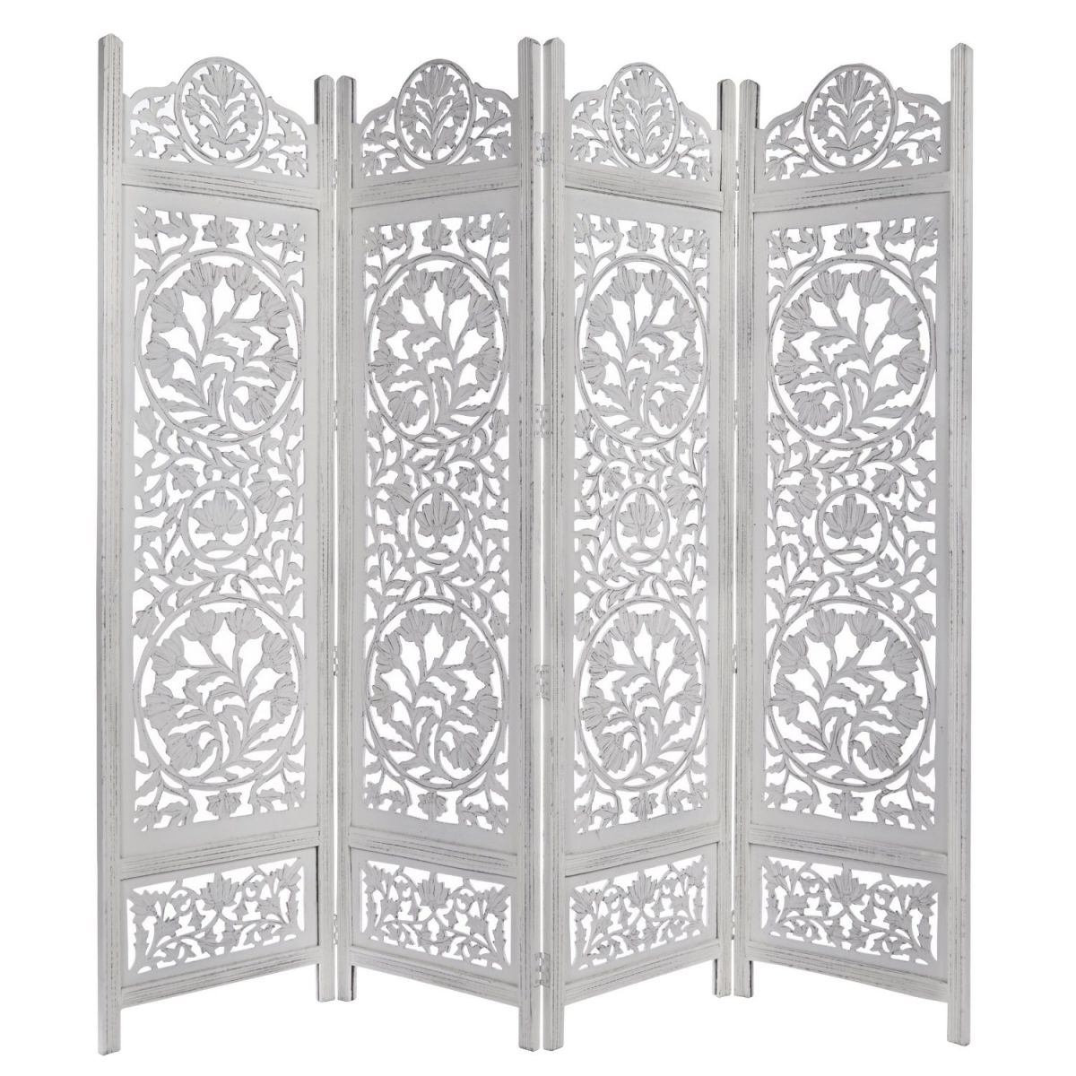 Kamal-The-Lotus-Antique-White-4-Panel-Handcrafted-Wood-Room-Divider-Screen-72x80