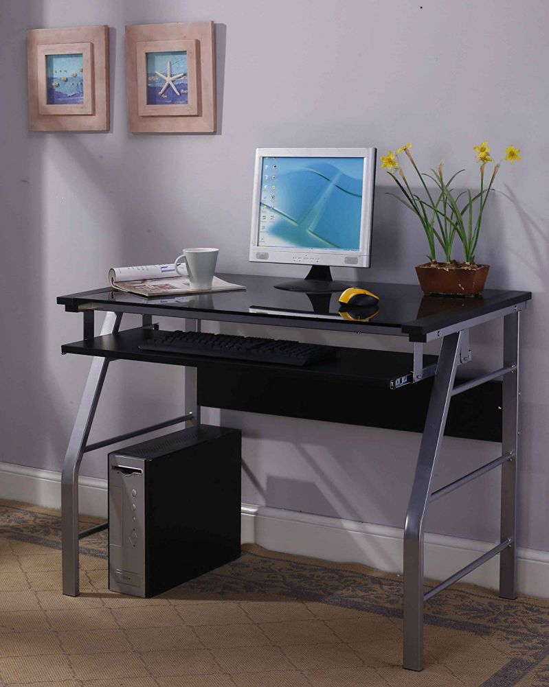 King's Brand 2950 Glass and Metal Home Computer Workstation Desk
