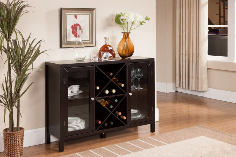 Kings Brand Furniture Wood Wine Rack Console Sideboard Table with Storage