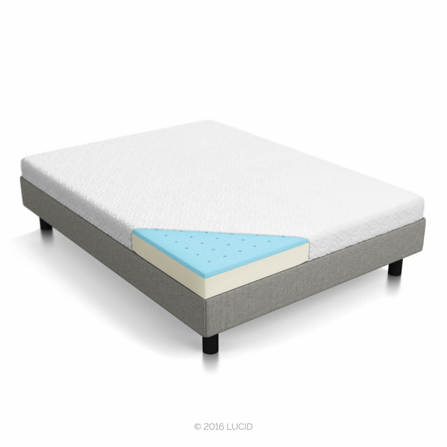 LUCID 5 Inch Gel Memory Foam Mattress - Dual-Layered - CertiPUR-US Certified - Firm Feel - Queen Size
