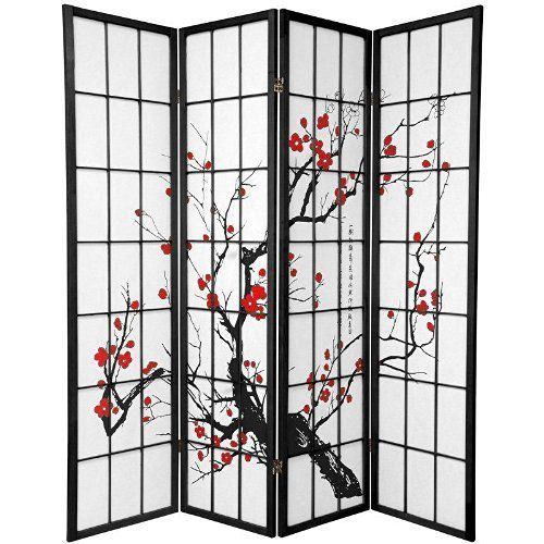 Legacy-Decor-4-Panel-Plum-Blossom-Screen-Room-Divider-Black