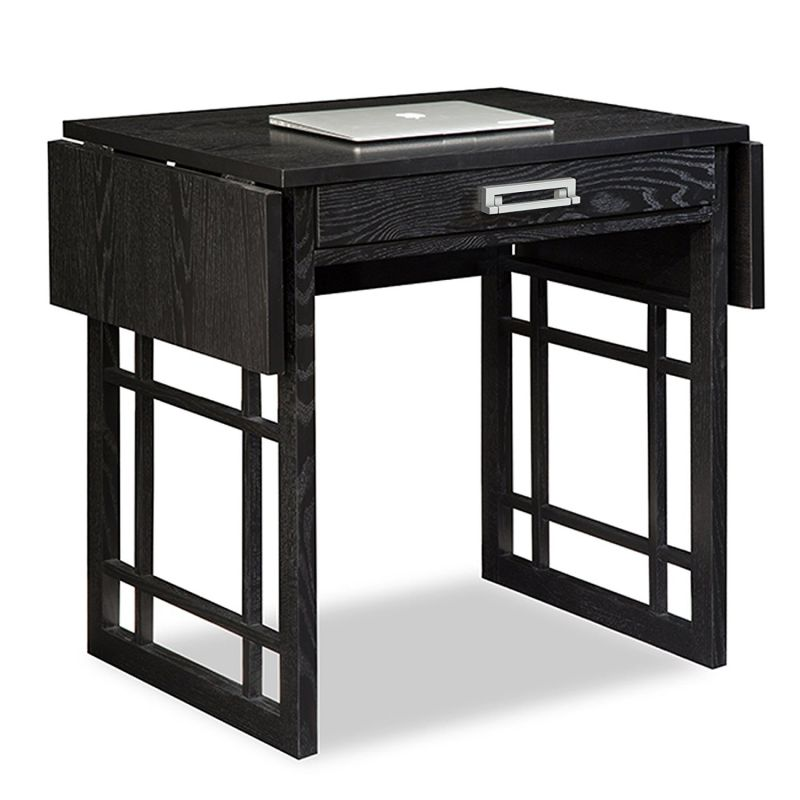 Leick 83420 Oak Drop Leaf Computer Writing Desk, Black