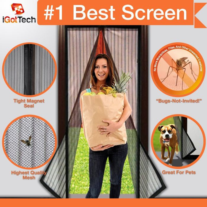 Magnetic Screen Full Velcro Frame Door