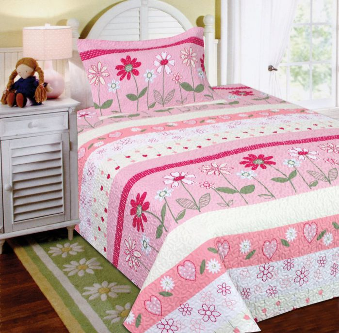 Mk Collection 2 Pc Bedspread Teens girls Pink Floral