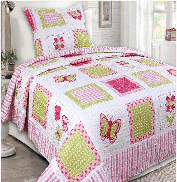 Mk-Collection-2-Pc-Bedspread-Teens-pink-Yellow-Butterfly-Floral-New