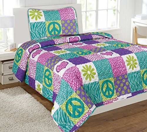 Mk-Collection-2-Pc-Bedspread-girls-Pink-Purple-Teal-Heart-Flower-Peace-Sighn-Safari-New