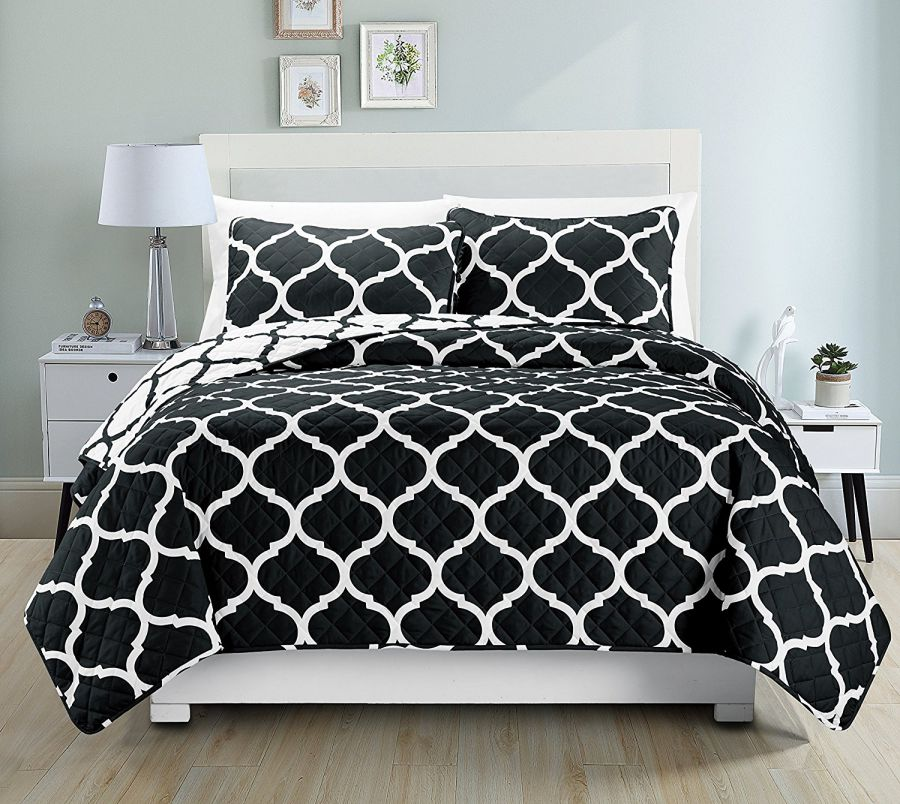 Mk-Collection-3pc-Over-Modern-Reversible-Bedspread-Black-White-Over-size