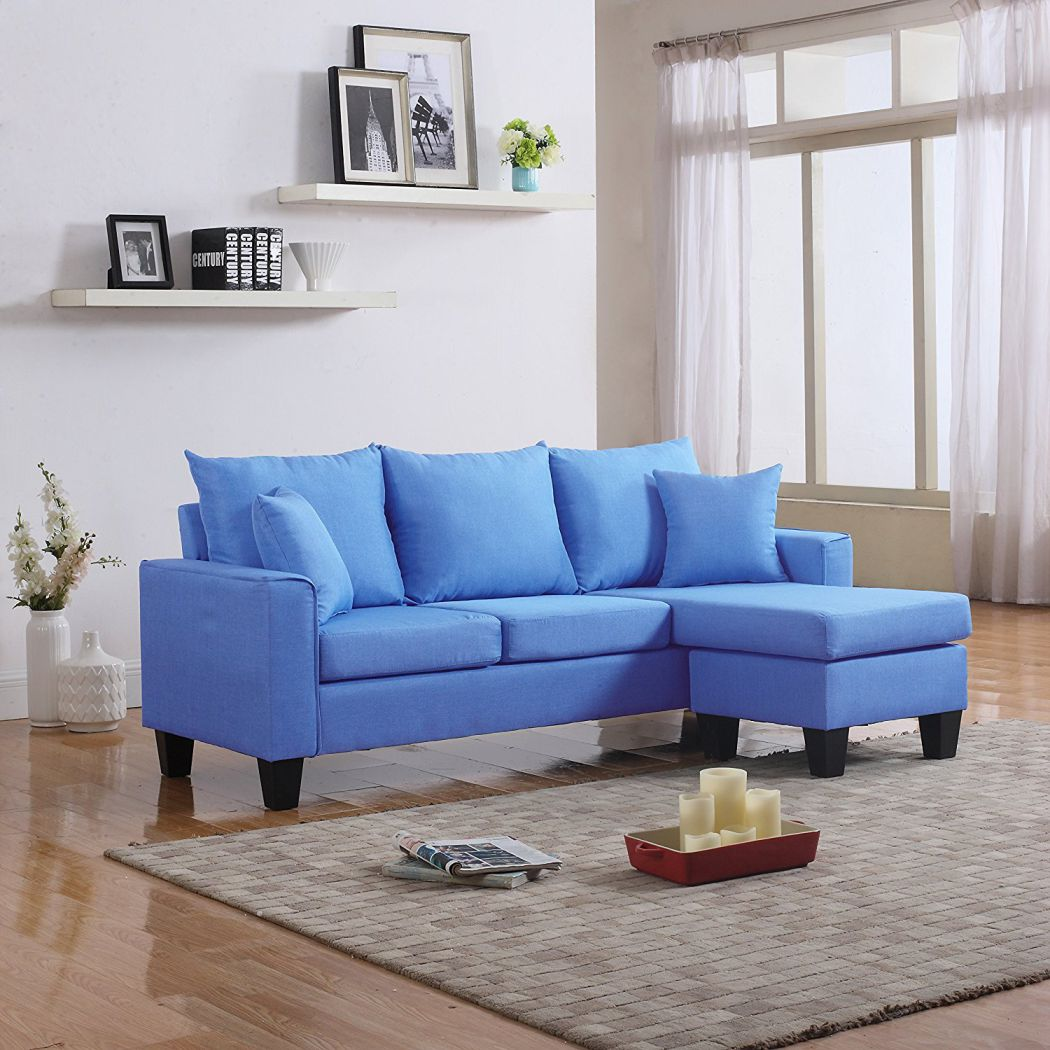 Small Chaise Sofa In A White Faux Leather Fabric: Blue Couches Decor For Ideas Of Stylish Living Room