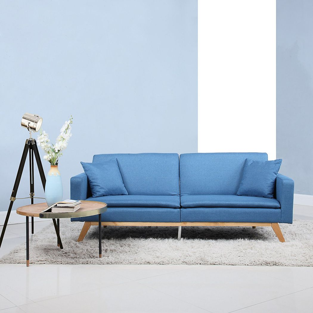 Modern-Tufted-Linen-Splitback-Recliner-Sleeper-Futon-Sofa-Blue
