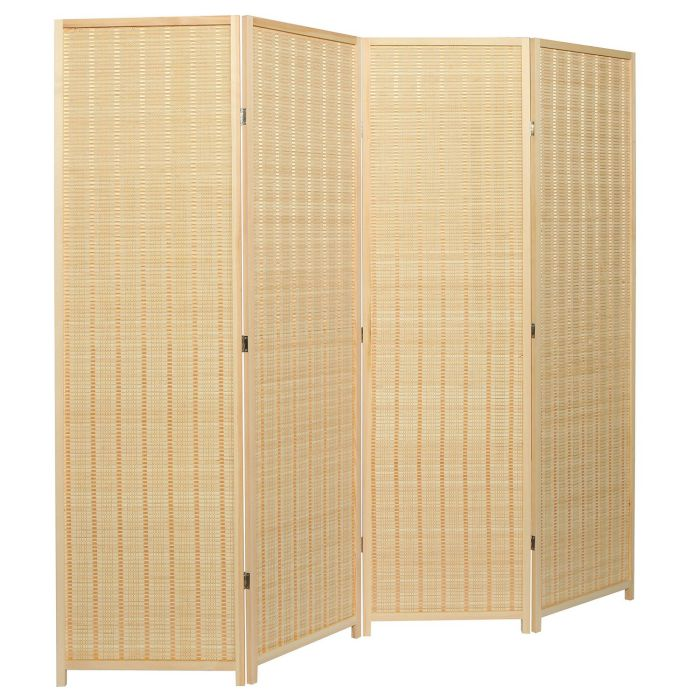 My Gift Decorative Freestanding Beige Woven Bamboo 4 Panel Hinged Privacy Screen Portable Folding Room Divider