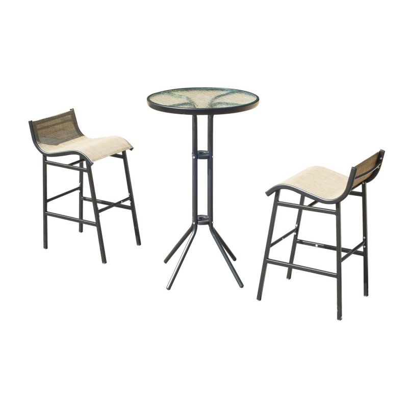 Outsunny 3 pc Outdoor Patio Pub Table and Chairss Sets