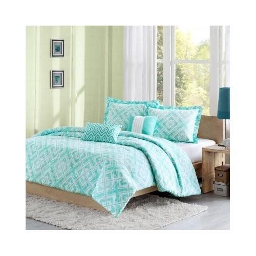 Reversible Teen Kids Girls Teal Comforter Bedding Set with Pillows