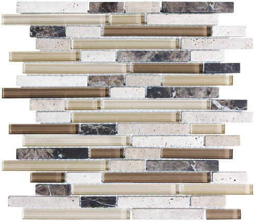 Rocky Point Bliss Cappucino Stone and Glass Linear Mosaic Tiles