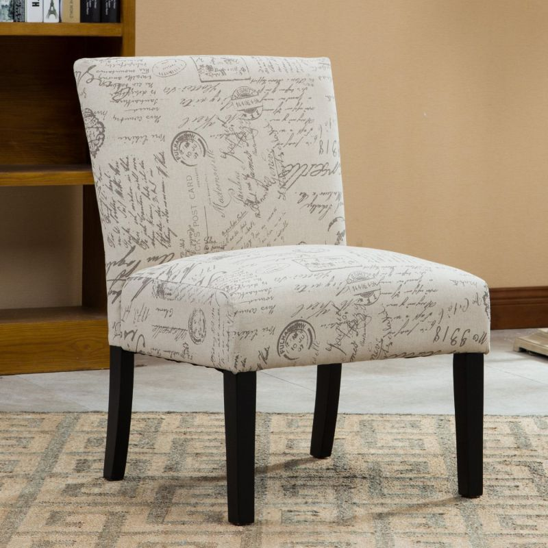 Roundhill Furniture Botticelli English Letter Print Fabric Armless Contemporary Accent Chair