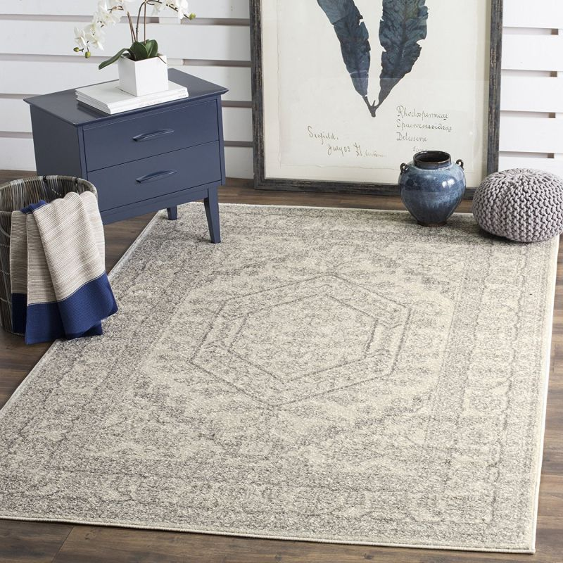 Safavieh Adirondack Collection ADR108B Ivory and Silver Oriental Vintage Area Rug