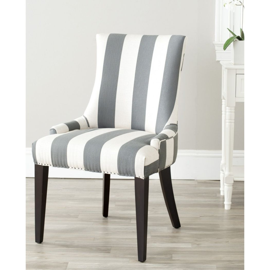 Safavieh-Mercer-Collection-Eva-and-White-Striped-Dining-Chair-with-Trim-Nail-Head-Grey